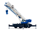 a blue rough terrain crane from tadano